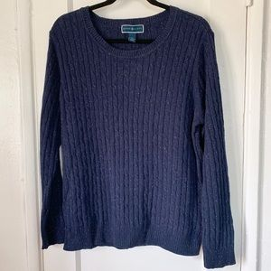 Karen Scott Navy Blue Scoop Neck Sweater